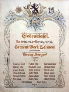 Gründertafel 1903